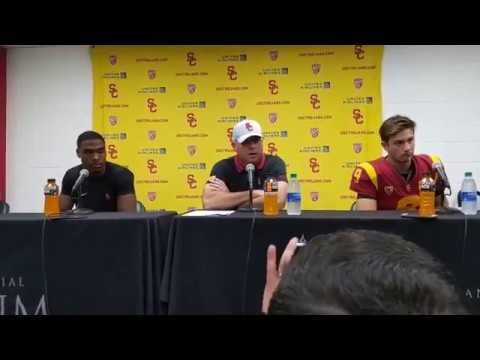 USC post game press conference with Clay Helton talking about his future