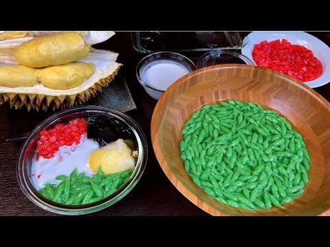 Siêu ngon dễ làm-Bánh lọt lá dứa hạt lựu sáo đen sầu riêng nước cốt dừa thơm lừng #977