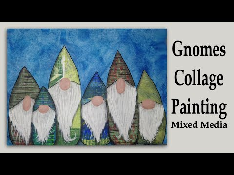 Gnomes Collage and Painting Demonstration: Mixed Media Art Journal Page