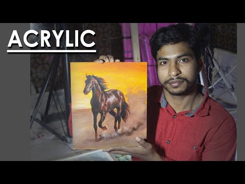 Acrylic Painting : A Running Brown Horse | Techniques to follow | Artist – Supriyo