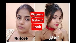 Biggners makeup look    Step by Step    Style with me   