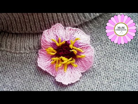 Flower wool embroidery | embroidery trick : stamens