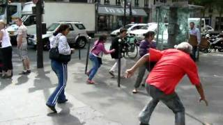 Hobo Fights Gypsy's At KFC In Paris With Shoes