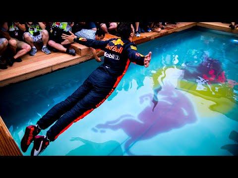 One Team, One Pool!   The Team celebrate Daniel Ricciardo's Monaco Grand Prix win!