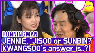 "[HOT CLIPS] [RUNNINGMAN] JENNIE, ""JISOO or SUNBIN?"" KWANGSOO says...🤣🤣  (ENG SUB)"