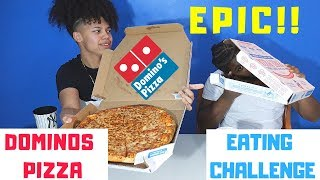2x LARGE dominos pizza eating challenge | Domino's Large Pizza Eating Competition | Food Challenge