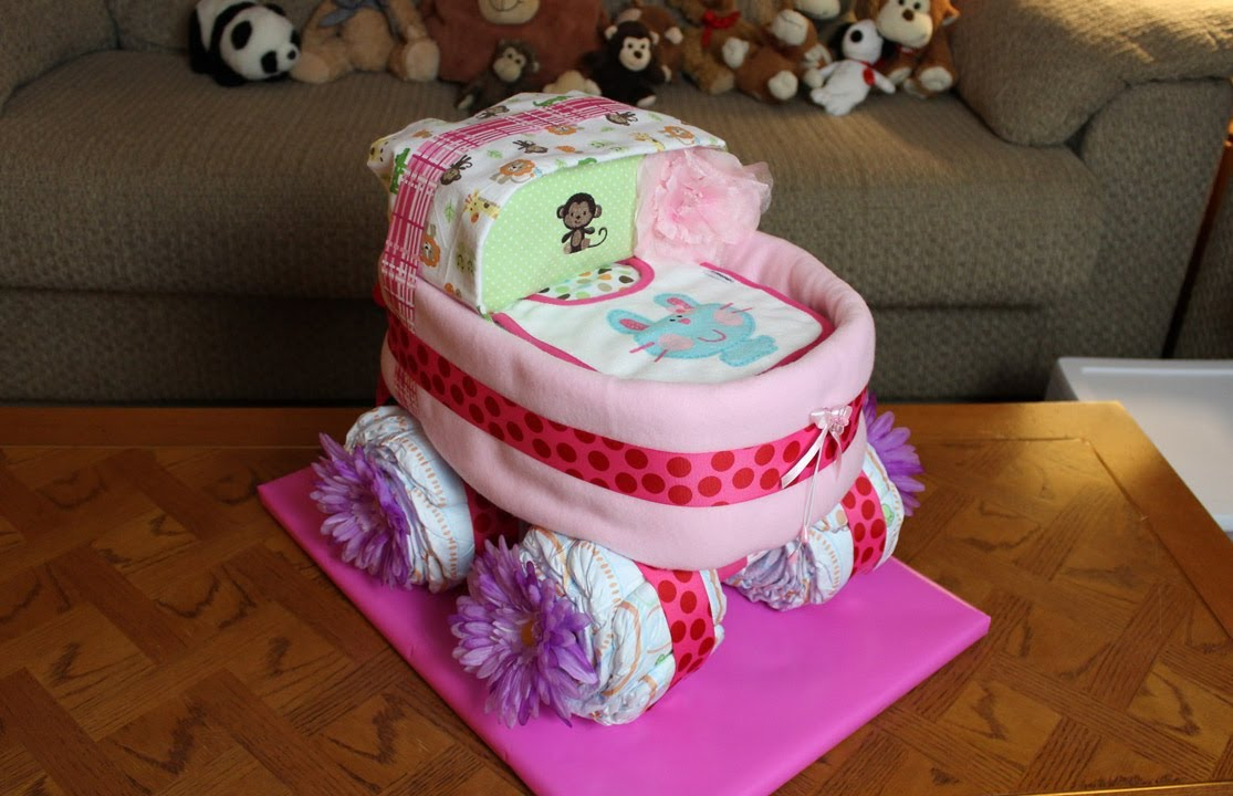 How To Make Baby Buggy Diaper Cake