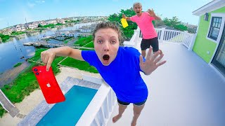 Last to Drop iPhone off NEW Sharer Family BEACH HOUSE Wins $10,000! - Challenge