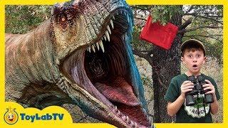 Dinosaurs & Park Rangers Face Off! Giant T-Rex Dinosaur Adventure & Jurassic World Surprise Toys