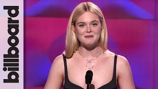 Elle Fanning Introduces Selena Gomez at Billboard's Women in Music 2017