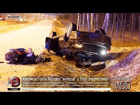 """Kierowca Forda Mondeo """"wyleciał"""" z trasy średnicowej"""