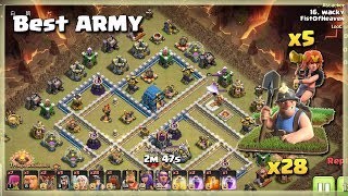 Th12 Best ARMY= 28 MINER+5 VALKS | TH12 War Strategy #73 | COC 2018 |