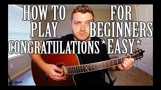 """How to Play """"Congratulations"""" by Post Malone on Guitar for Beginners *EASY*"""