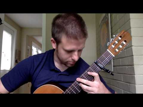"Solo arrangement of ""Sunrise, Sunset"" for classical guitar."