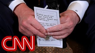 Trump's note card for shooting discussion: 'I hear you'