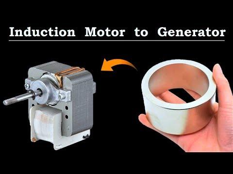 220v Induction Motor to 12v AC Generator Brushless - Awesome Idea DIY