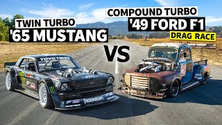 1,200hp Compound Turbo Diesel F100 Vs Ken Block's 1,400hp AWD Ford Mustang // Hoonicorn Vs the World