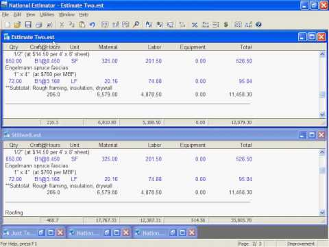 National Construction Estimator - Estimates: Managing Multiple, Templates, Printing