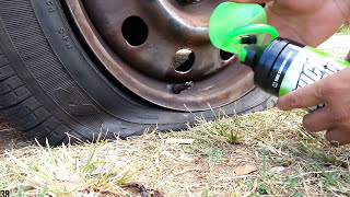 Roadside Flat Tire Fix On The Spot - I use this inflator sealer for small puncture