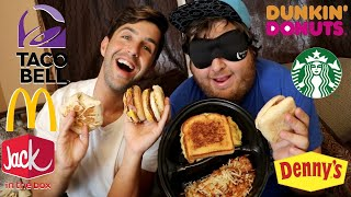 FASTFOOD BREAKFAST + BLINDFOLD CHALLENGE! (Guess The Restaurant)