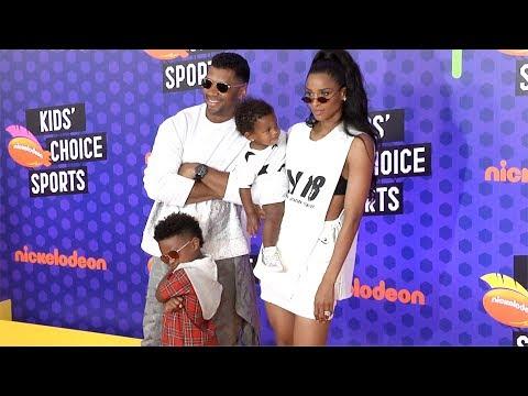 Ciara and Russell Wilson 2018 Kids' Choice Sports Awards Orange Carpet