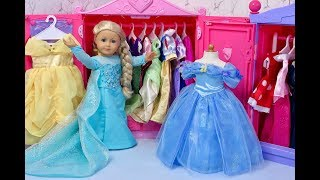 American Girl Doll Disney Princess Wardrobe in Doll Room! Dress Up & Wardrobe Play!