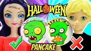 Pancake Art Challenge HALLOWEEN   Marinette y Adrien juegan PLANTAS contra ZOMBIES
