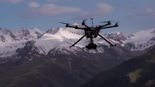Copter Hovers Above The Ground Stock Video