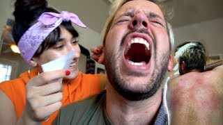 GIRLFRIEND WAXES MY FACE AND BODY!! (Extremely Painful!)