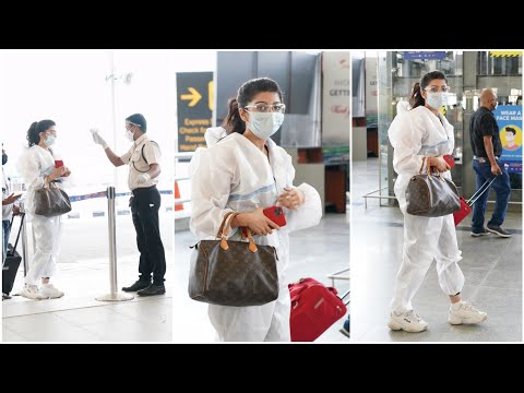 Actress Pranitha Subhash spotted at Hyderabad airport in PPE kit