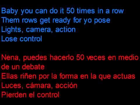 Flo Rida - Turn Around 5,4,3,2,1 -  Letra en español y en inglés en la pantalla