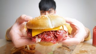 I found a place here that sells raw beef burgers.
