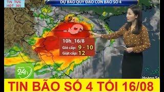 Tin Bão Khẩn: Cơn Bão Số 4 - Tối 16/08 Gió giật cấp 12 đi sâu vào vịnh Bắc Bộ