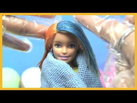 Tự Làm Thuốc Nhuộm Tóc An Toàn Cho Búp Bê barbie/ Cắt Tóc Búp Bê Đẹp / Đồ Chơi Trẻ Em |chị Bí Đỏ|