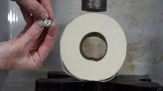 Toilet Paper Turned To Solid Stone In Hydraulic Press With Fan Suggestions