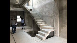 Kho Tư liệu Xây dựng - Hình dáng đầy đủ về cầu thang bản bê tông 3 vế cho nhà phố