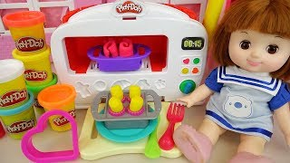 Play doh oven and baby doll kitchen cooking play