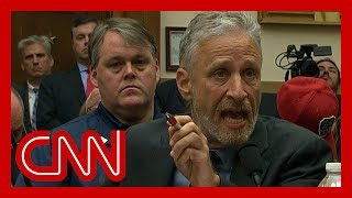 Jon Stewart chokes up, gives angry speech to Congress