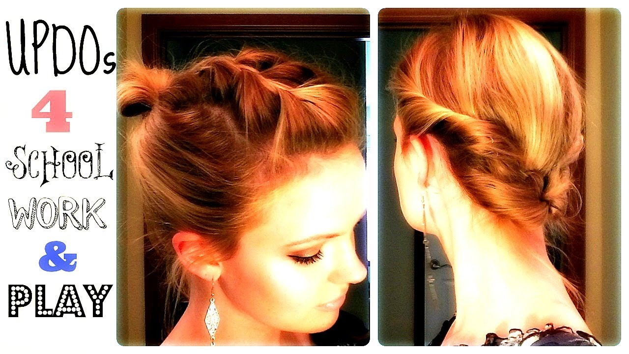 4 Quick Updos 4 School Work And Play Youtube