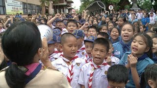 Children celebrate in front of hospital where rescued Thai boys are recuperating