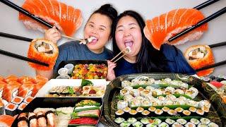SUSHI MUKBANG 먹방 SPICY TUNA ROLL + SALMON NIGIRI + CHIRASHI BOX + YELLOWTAIL EATING SHOW! *THE BEST*