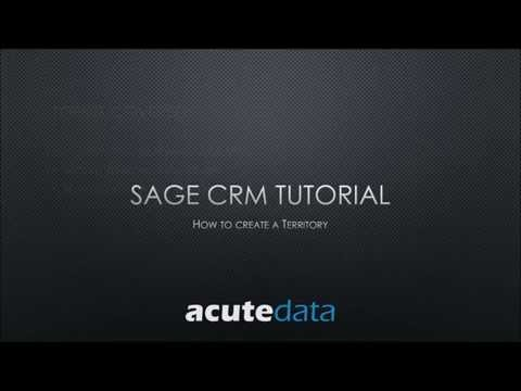 Sage CRM - How To Create A Territory