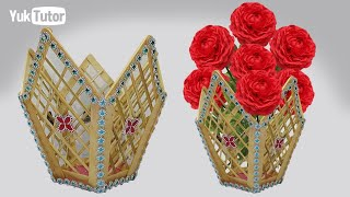 153) Ide Kreatif - How to make vase flower    Vas bunga yang cantik dari stik es krim dan tusuk sate