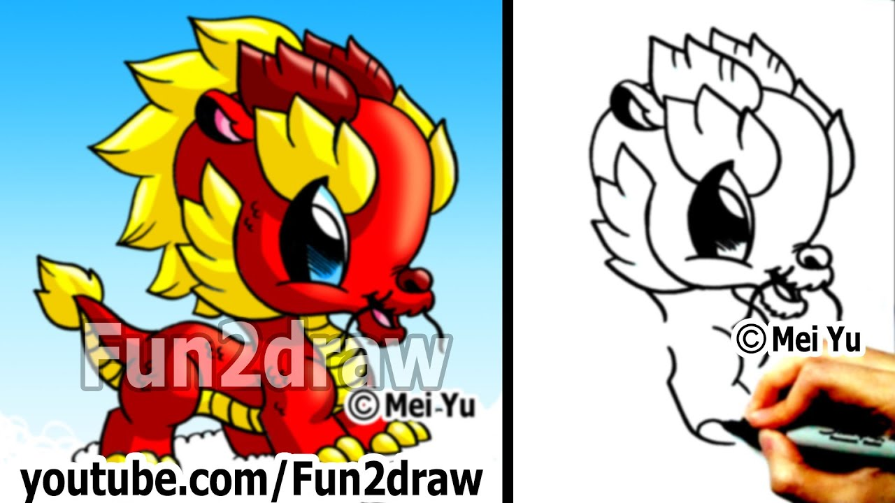 How To Draw A Dragon Chinese Dragon Cute Drawings