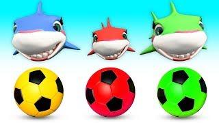Baby Shark Family playing Football - Baby Shark Nursery Rhymes & Kid Songs