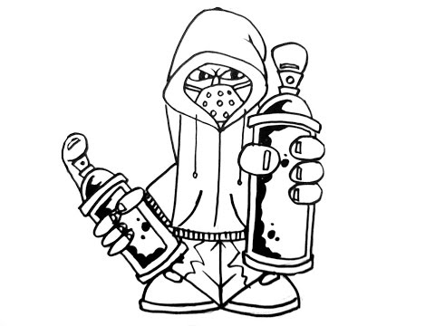 How to draw graffiti characters holding 2 cans - YouTube  How to draw gra...