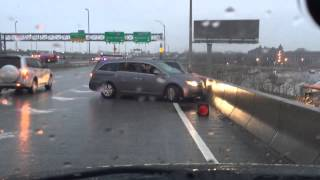 NY highway accident black Ice watch till the end! Honda odyssey Ford
