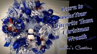 Dodgers Mesh Wreath Team Theme Wreath: How to: Christmas Wreath: Hallie's Creations