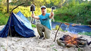 24hr Creekside Camping/Survival CHALLENGE!!! --NO FOOD or WATER