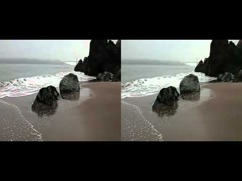 Golden Gate Bridge Viewed from China Beach San Francisco on a Foggy Day 3d ( yt3d:enable=true )